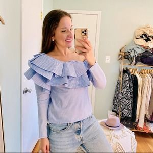 LUXE By Stylekeepers Blue One Shoulder Ruffle Top